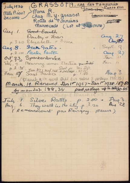 Mme R. Grassot 1936 – 1938 card
