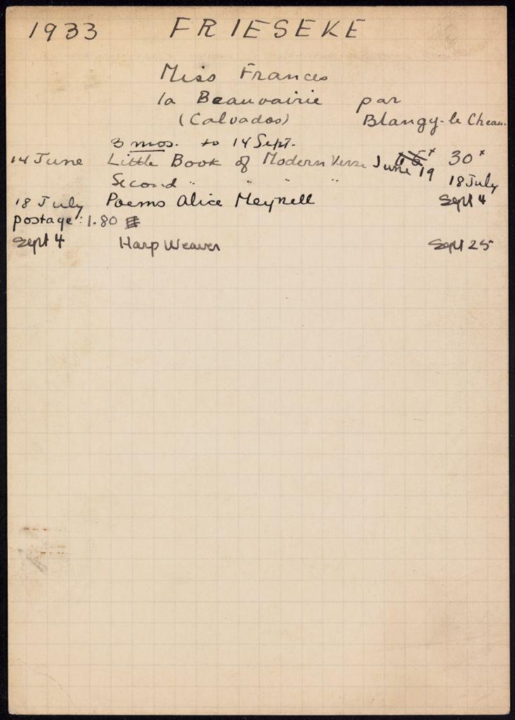 Frances Frieseke 1933 card (large view)