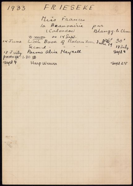 Frances Frieseke 1933 card