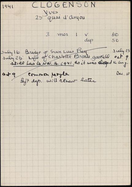 Yves Clogenson 1941 card