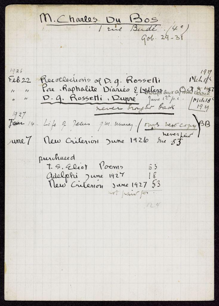 Charles Du Bos 1926 – 1929 card (large view)