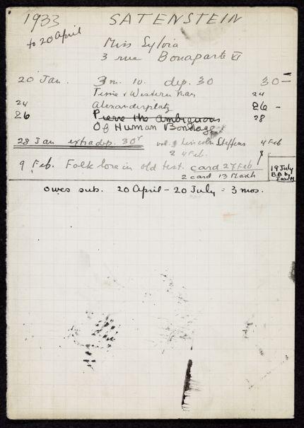 Sylvia Satenstein 1933 card