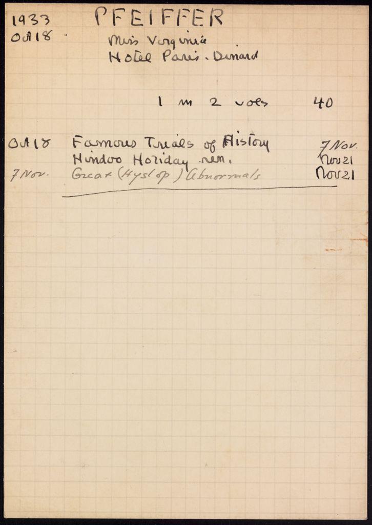 Virginia Pfeiffer 1933 card (large view)