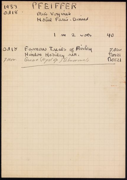 Virginia Pfeiffer 1933 card