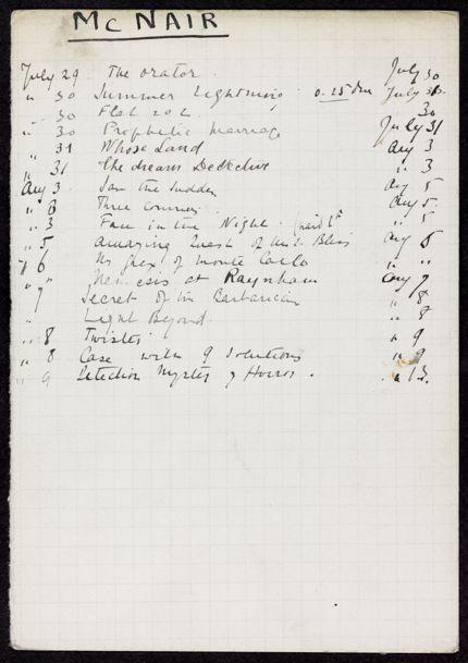 McNair 1929 card