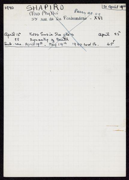 Phyllis W. Shapiro 1940 card