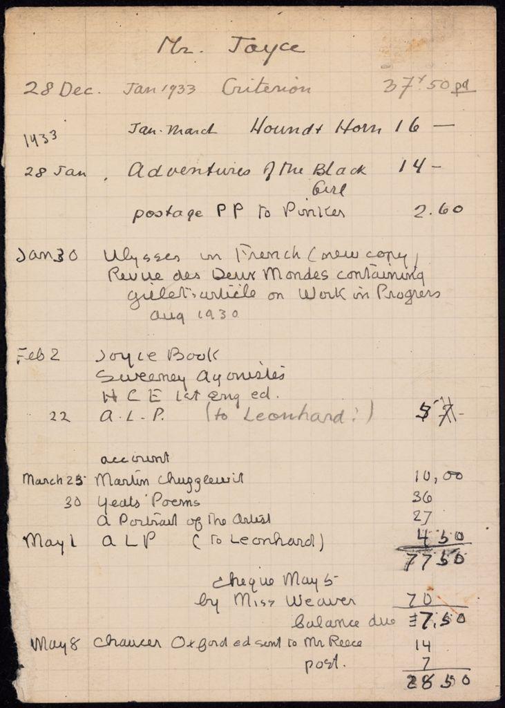 James Joyce 1932 – 1933 card (large view)