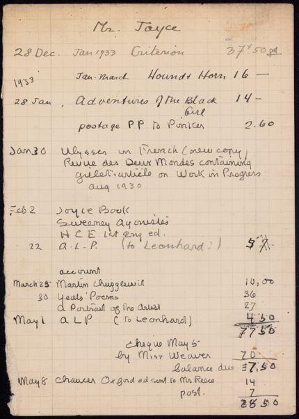 James Joyce 1932 – 1933 card