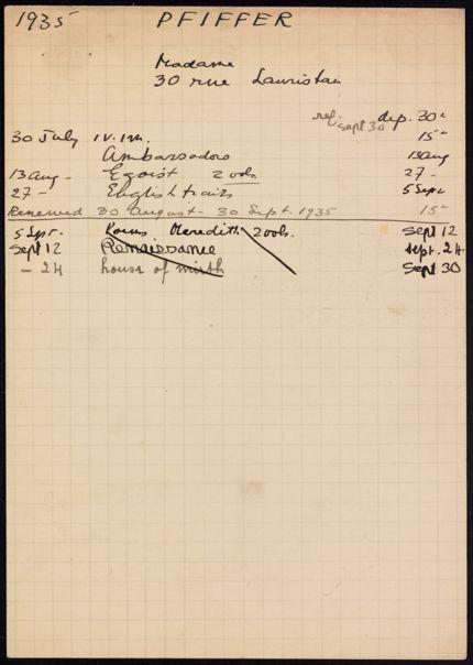 Mme Pfiffer 1935 card