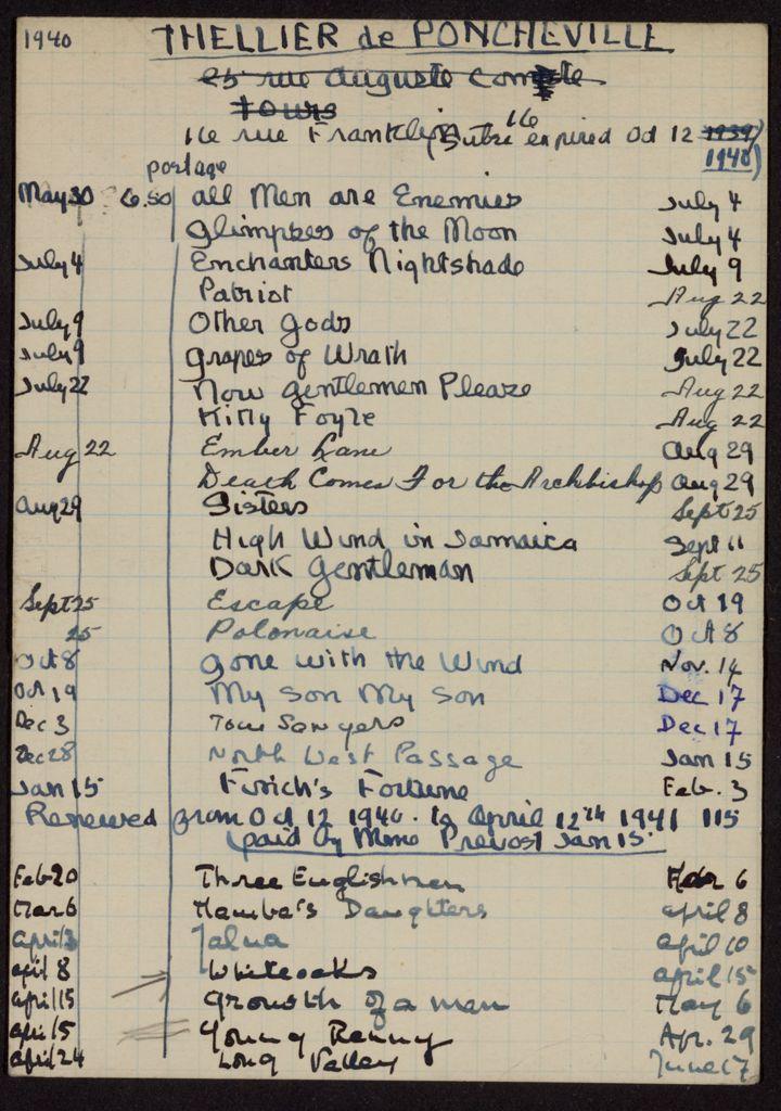 Nicole Thellier de Poncheville 1940 – 1941 card (large view)