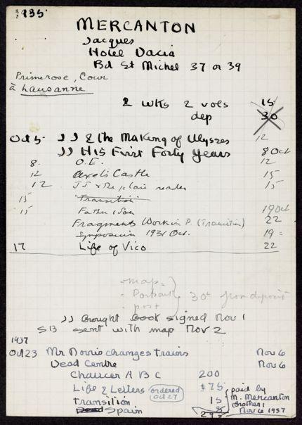Jacques Mercanton 1935 – 1937 card