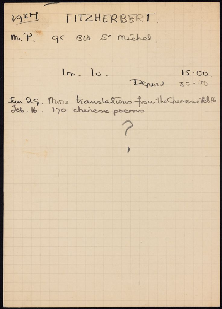 P. Fitzherbert 1937 card (large view)