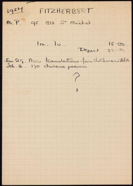 P. Fitzherbert 1937 card