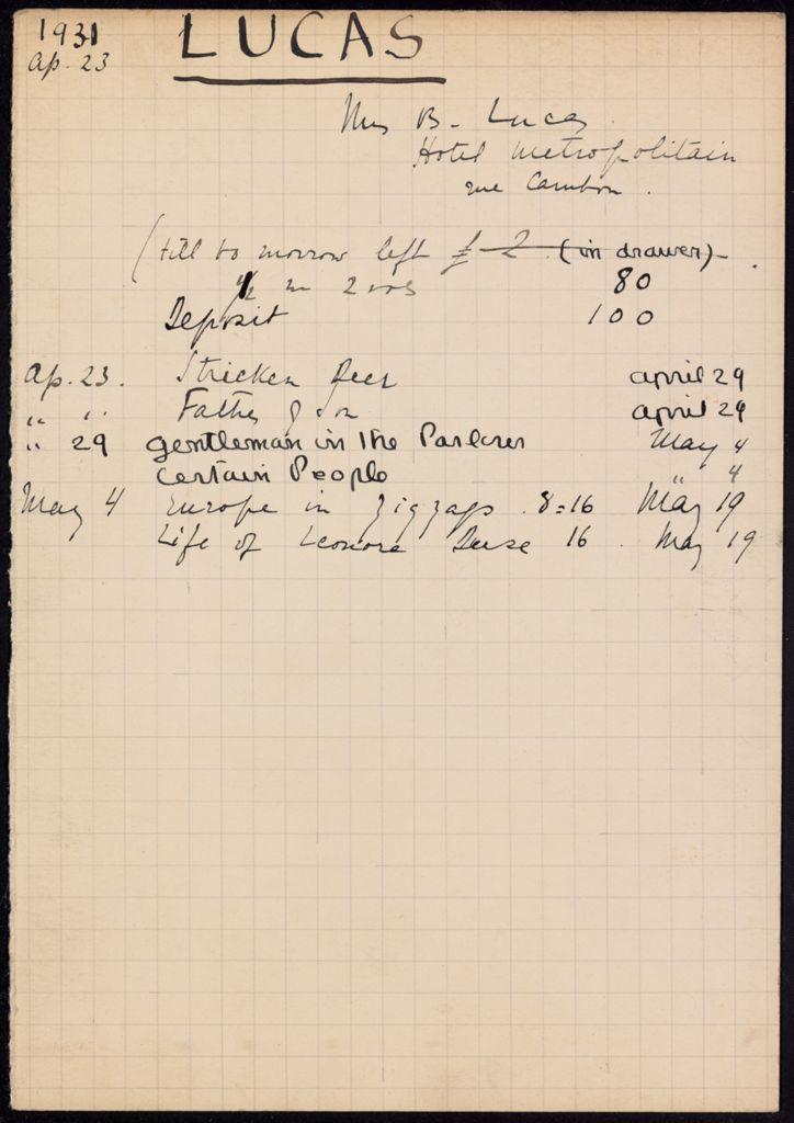 Mrs. B. Lucas 1931 card (large view)