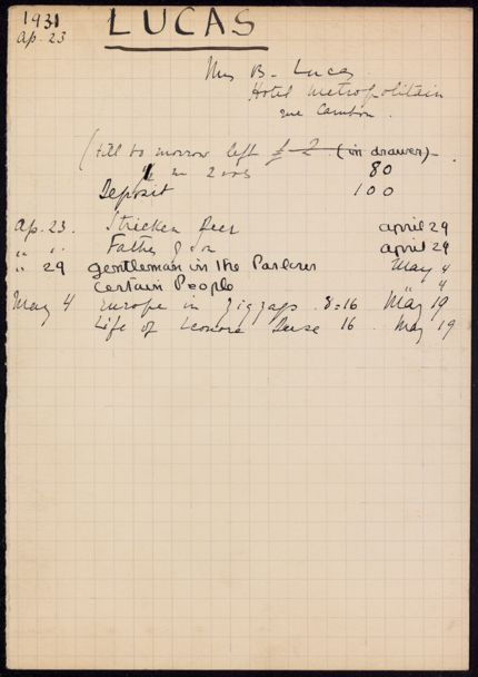 Mrs. B. Lucas 1931 card