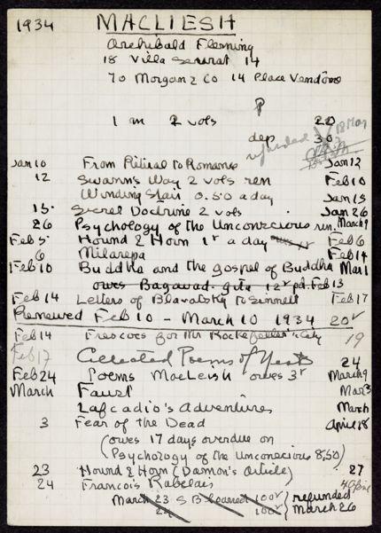 Ada MacLeish 1934 card
