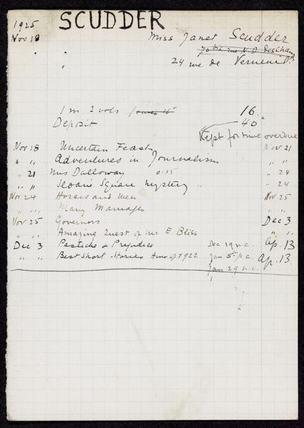 Janet Scudder 1925 – 1926 card