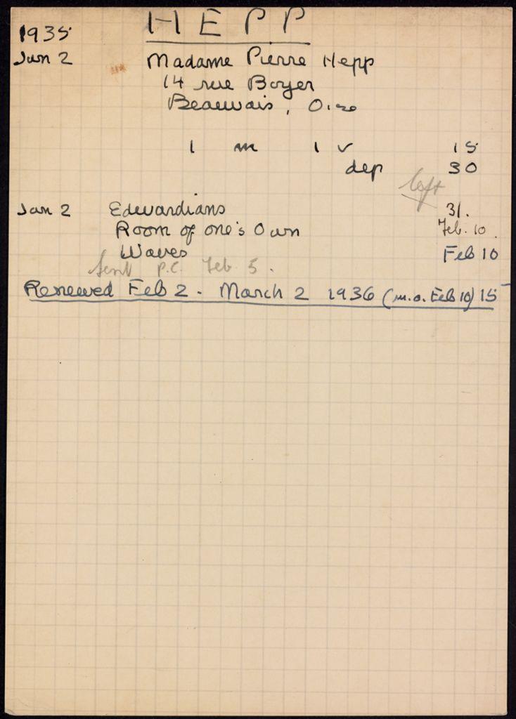 Camille Mayran 1936 card (large view)