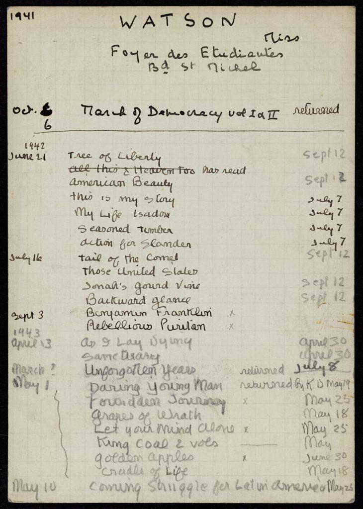 Sarah Pressly Watson 1941 – 1943 card (large view)