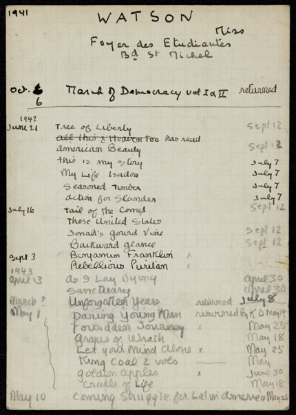 Sarah Pressly Watson 1941 – 1943 card