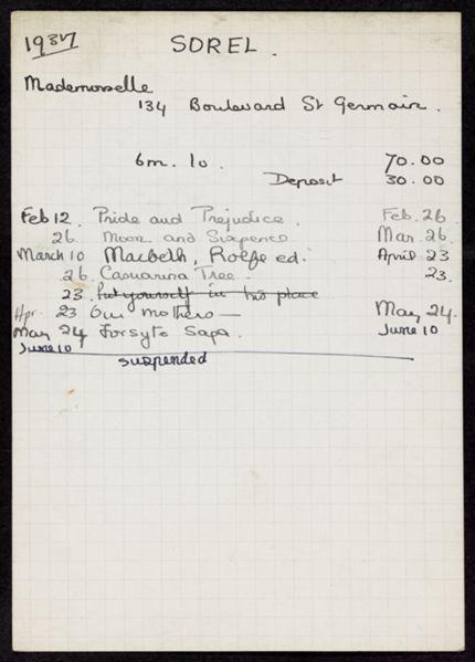 Mlle Sorel 1937 card