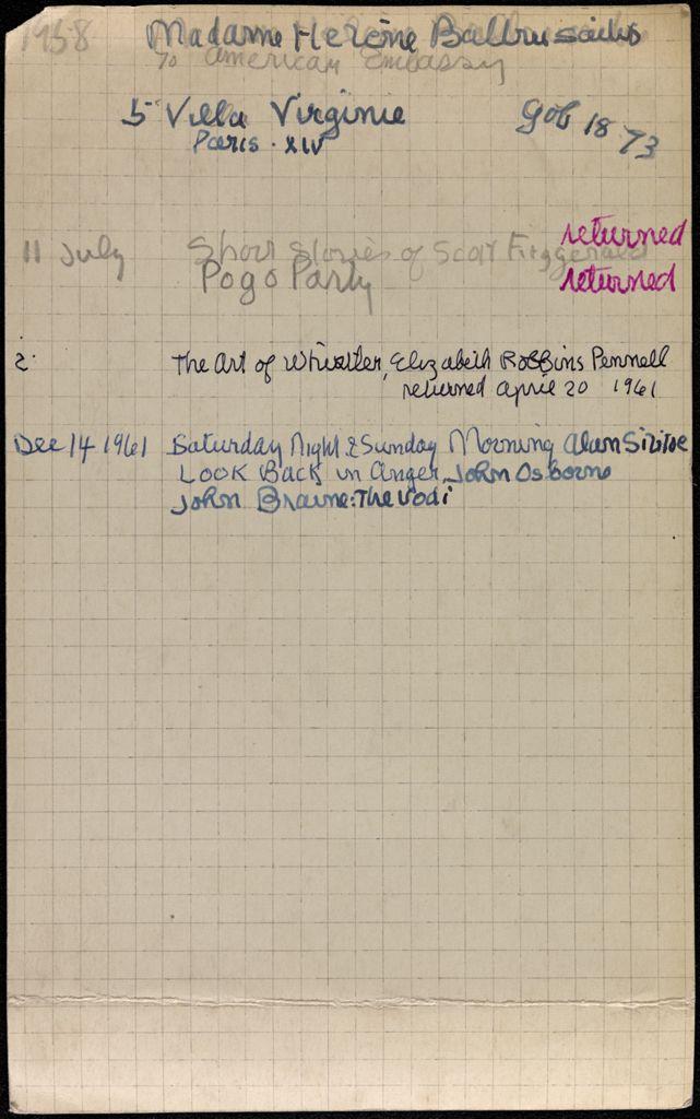 Hélène Baltrusaitis 1958 – 1961 card (large view)