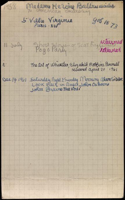 Hélène Baltrusaitis 1958 – 1961 card