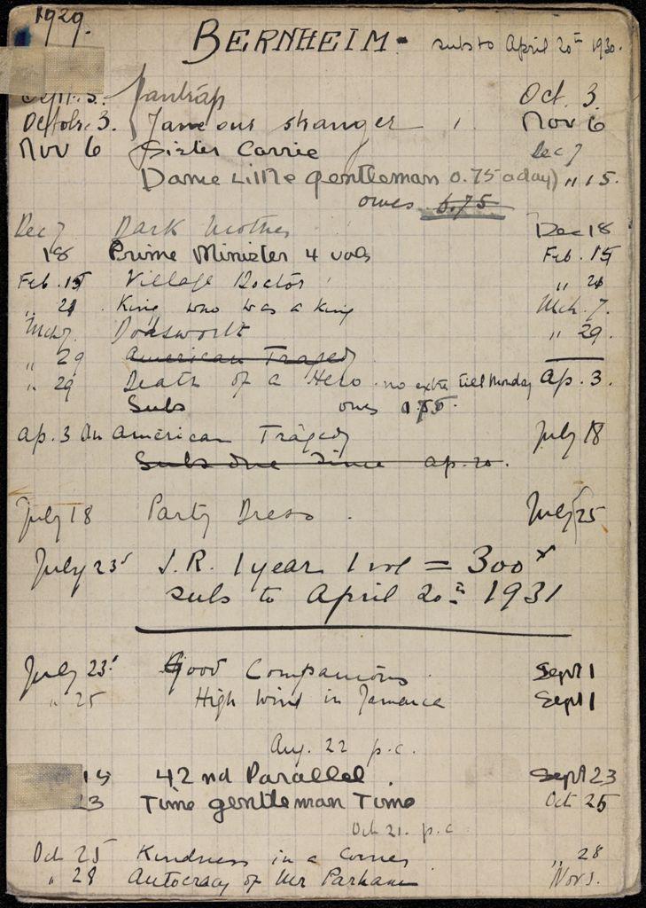 Mrs. Bernheim 1929 – 1931 card (large view)