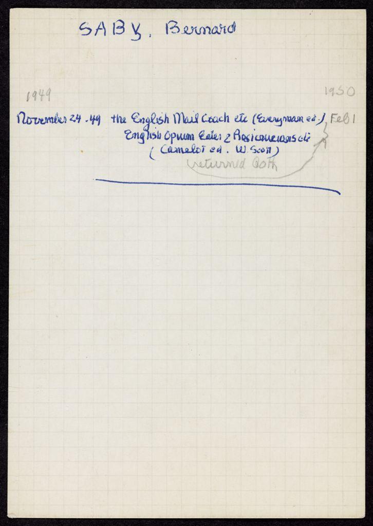 Bernard Saby 1949 – 1950 card (large view)