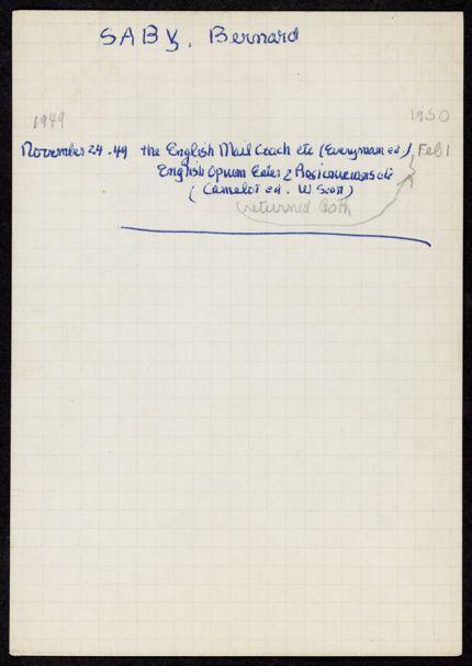 Bernard Saby 1949 – 1950 card