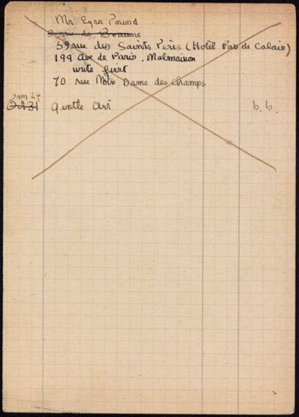 Ezra Pound 1922 card