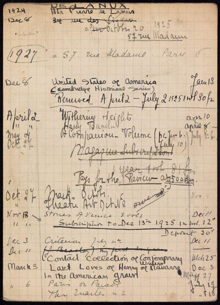 Pierre de Lanux 1924 – 1926 card (large view)