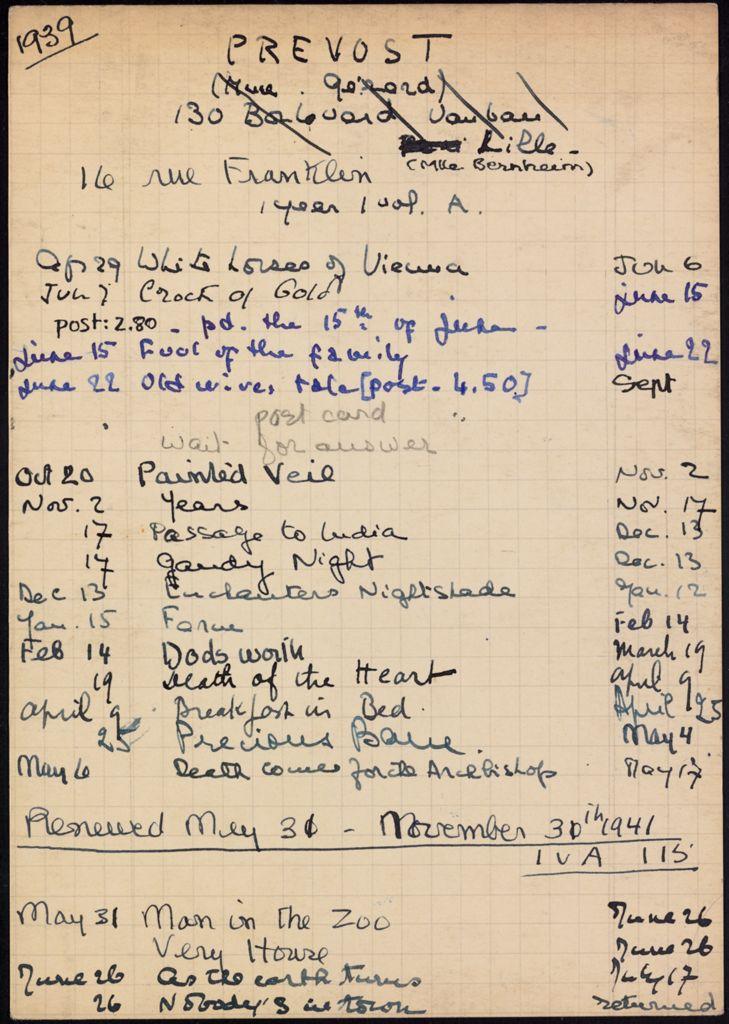 Mme Gérard Prevost 1939 – 1941 card (large view)