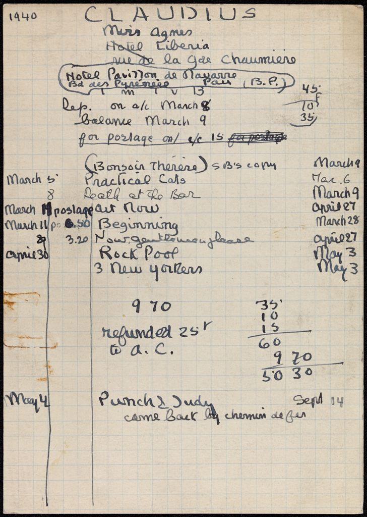 Agnes Claudius 1940 card (large view)
