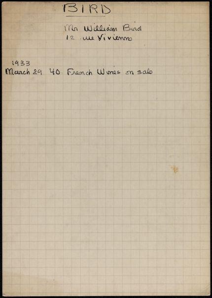 William Bird 1933 card