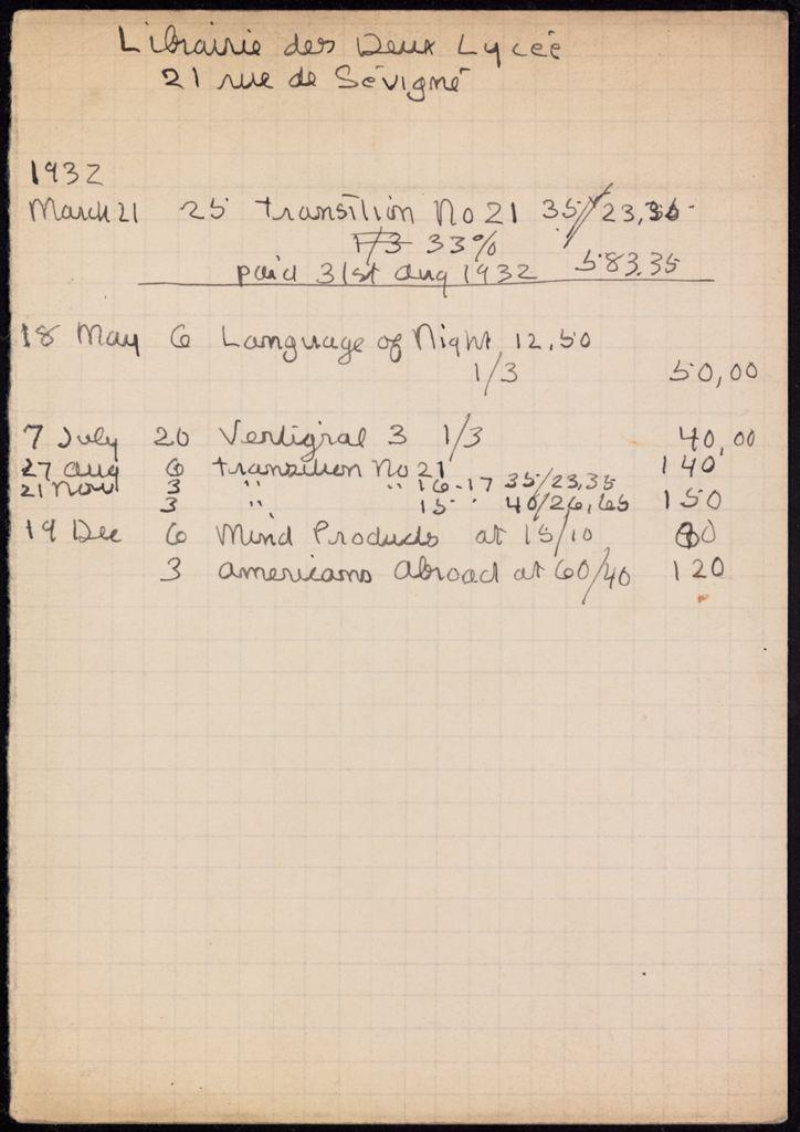 Librairie des deux Lycée 1932 card (large view)