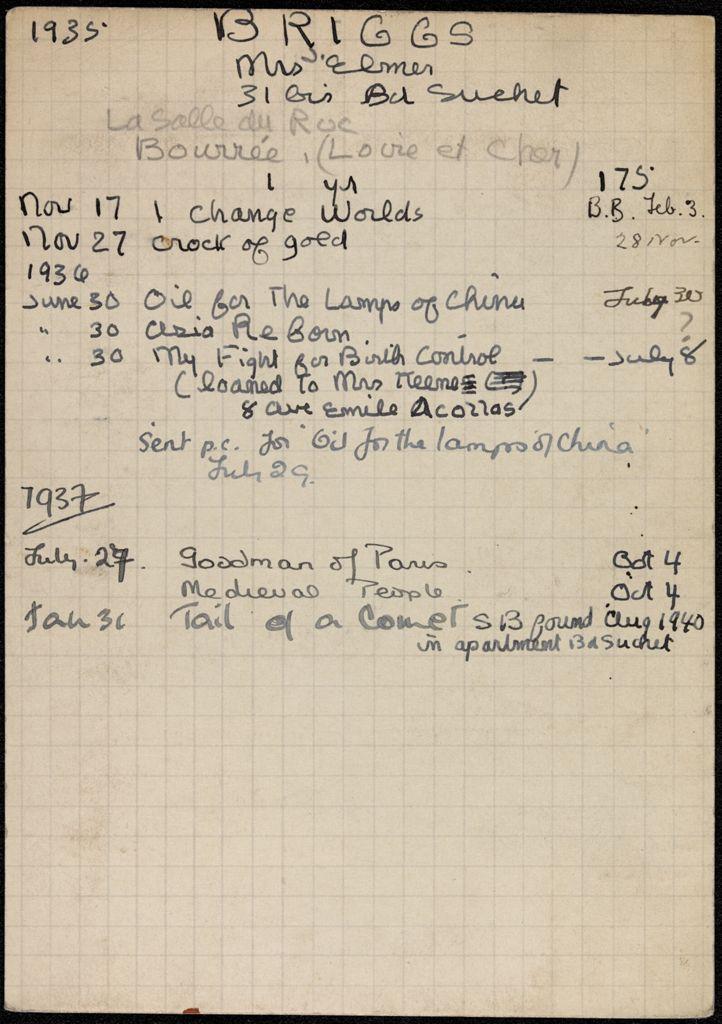 Carlotta Welles Briggs 1935 – 1940 card (large view)