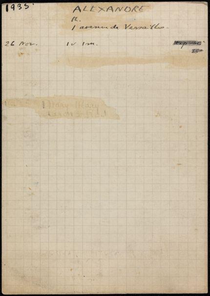 M. Alexandre 1935 card