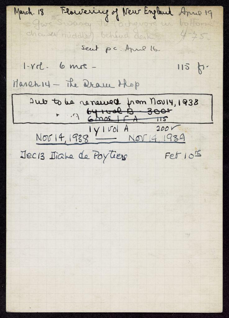 Horatio Robert Swasey 1937 – 1939 card (large view)