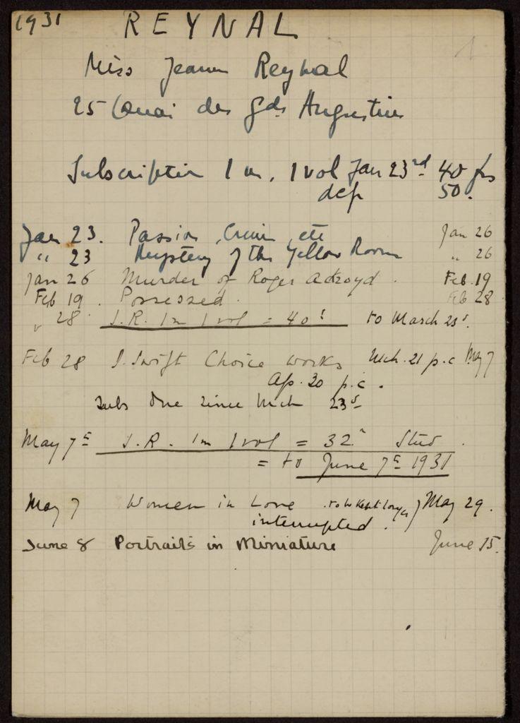 Jeanne Reynal 1931 card (large view)
