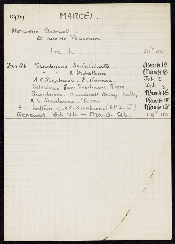 Gabriel Marcel 1937 card (large view)