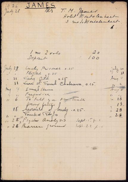 T. M. James 1926 card