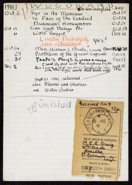 Daphne Woodward 1941 – 1942 card