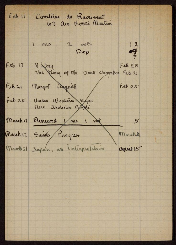 Comtesse de Raousset 1921 card (large view)