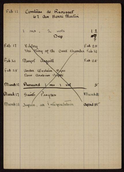Comtesse de Raousset 1921 card