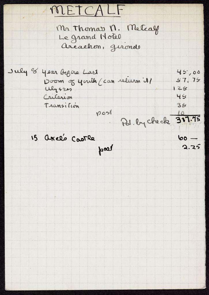Thomas N. Metcalf 1932 card (large view)