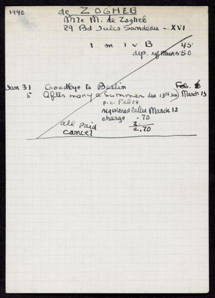 M. de Zogheb 1940 card