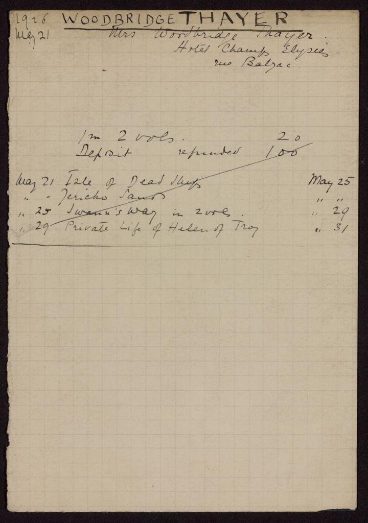 Mrs. Woodbridge Thayer 1926 card (large view)