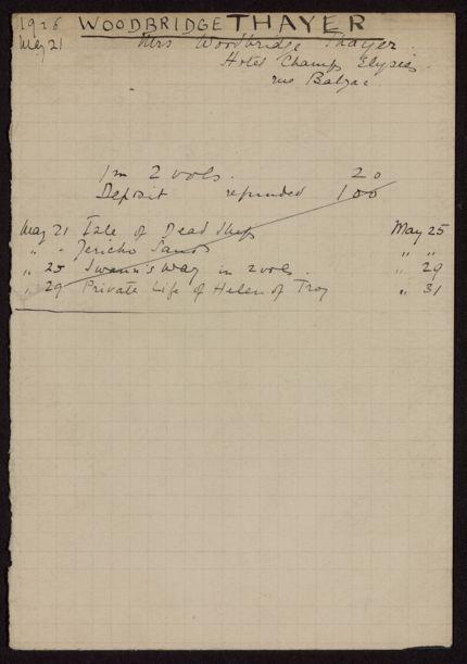 Mrs. Woodbridge Thayer 1926 card