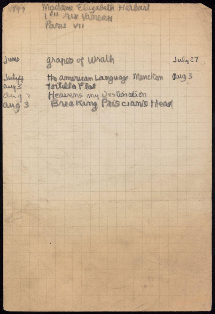 Elizabeth Herbart 1939 card (large view)